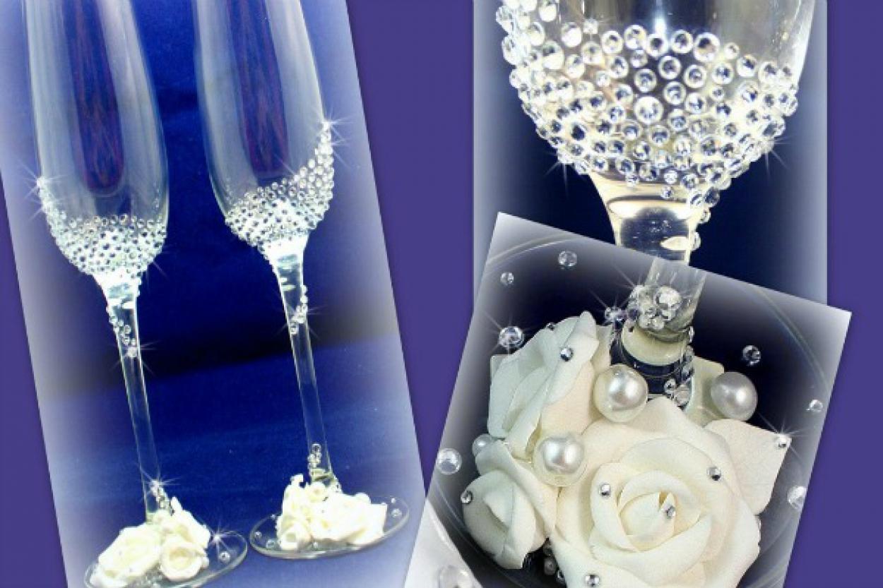 Фото оформление свадебных бокалов своими руками