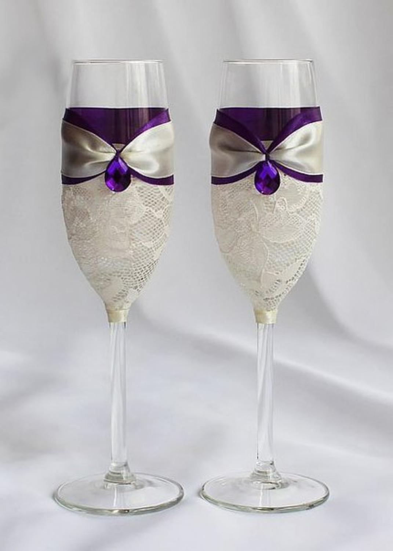 Оформление бокалов на свадьбу лентами своими руками
